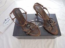 Prada Leder Sandaletten NP: 450€ TOP + OVP Tasche Schuhe Sandalen Gr. 36 36,5 37