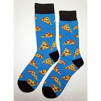 NWT Tasty Pizza Dress Socks Novelty Men 8-12 Blue Fun Sockfly