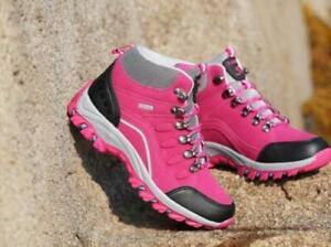 Women's High Top Shoes Lace Up Outdoor Hiking Waterproof Non-slip Hiking Boots