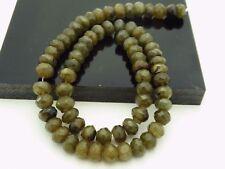 """Green Labradorite Flash Schiller Faceted Rondelle Gemstone Beads Strand 15.5 """""""