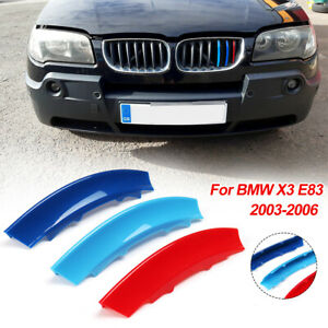 3 Color Kidney Grille 12 Bar Cover Decal Stripe Clip for BMW X3 E83 2003-2006