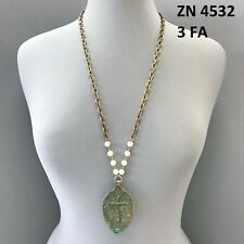 Gold Chain Patina Color Cross Spoon FAITH Engraved Pearl Long Pendant Necklace