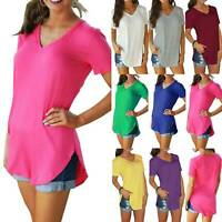 Solid Womens Longline Travel V Neck Short Sleeve Blouse Casual T Shirt Tops Size