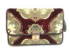 Rare Vintage Ipa Nima Brown Gold Red Burgundy Floral Clutch Hand Bag Purse