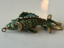 Enamel Articulated Koi Fish Pendant Superb Vintage Chinese Silver And