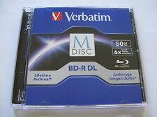 Single Verbatim Bluray BD-R DL 50GB Lifetime Archival M-Disc with Jewel Case