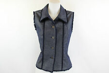 Chanel Identification Denim Button Down Vest Size 42/12