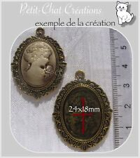 1 SUPPORT PORTE CAMEE CABOCHON METAL DORE 39mmx29mm pour camée 25mmx18mm *O116