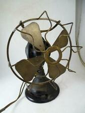 Antique Brass Blade Oscillating Table Fan Menominee Electric Manufacturing Vtg