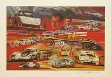 """The Porsche Racers"" Signed Original George Bartell watercolor, pencil, and ink"