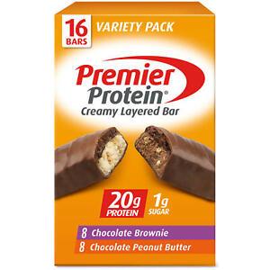 Premier Protein 20g Protein Bar, Variety Pack, Chocolate Brownie & Chocolate Pea