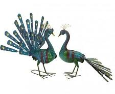 Blue U0026 Gold Colourful Metal Peacock Garden Ornament Statue