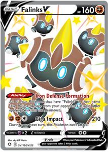 Pokemon TCG Shining Fates Falinks V SV115/SV122 Shiny Rare Holo - New Mint