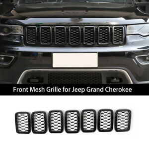 7*Black Front Mesh Grill Insert Decor Cover Trim For Jeep Grand Cherokee 2017+