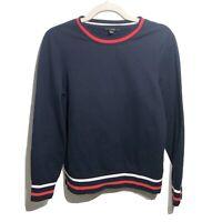 Banana Republic Navy Blue Color Block Pullover Crew Neck Sweater Size Small S