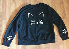 Black Cat Crew Neck L/S Sweatshirt Top, Womens 3x (46 Bust)