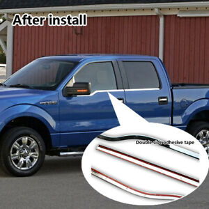 For 2009-2014 Ford F150 4Dr Crew Cab Chrome Window Sill Trims Covers Overlays