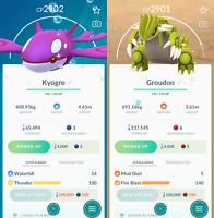 Shiny Regice Regirock Registeel shiny Groudon Kyogre Pokémon Go - Mini Account