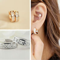 Fashion 1Pair Classic Womens Huggies Earrings Gold Filled With Crystal Hoop New