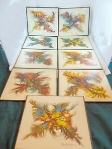 VINTAGE PAUL MANN TABLE PALCE MATS SET OF 9 RETRO ABSTRACT STYLE SIGNED