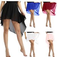 Sexy Womens Ballet Side-Dip Asymmetrical Chiffon Skirt Skate Costume Dance Dress