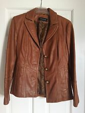 Jones New York Leather Coat Jacket Button Classic Blazer Tan Brown Camel M