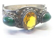 Vintage Russian ? 84 800  Sterling Silver Bracelet Huge Citrine Green Cobashon