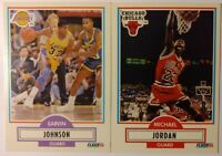 1990 90 Fleer Michael Jordan #26 Magic Johnson #93, Lot of 2, Sharp Cards