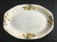 Vintage Homer Laughlin Potteries Oval Ironstone Platter Yellow Black Lily Poppy