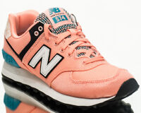 New Balance 574 NB Women's Peach Teal Athletic Casual Lifestyle Sneakers Shoes