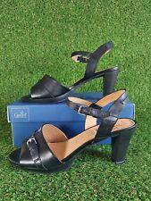 Women's Caprice Slingback Block Heel Sandals Leather Open Toe Black Size 6.5 UK