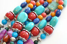 16.5 Inch Treasure Strand Gemstone Beads W Silver Plated Findings LIMITED