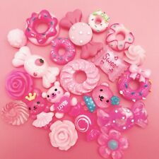 15 PINK Kawaii Resin Cabochons Cute Pastel Flatback Charms Decoden Animals Candy