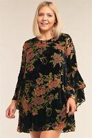 Black Plus Size Velvet Floral Long Sleeve Round Neck Relaxed Fit Mini Dress