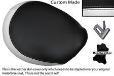BLACK & WHITE CUSTOM FITS TRIUMPH THUNDERBIRD 1600 1700 FRONT LEATHER SEAT COVER