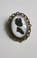 Mary Poppins theme brooch BRONZE glass vintage style SCARF PIN alloy CAMEO