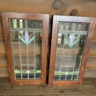 Antique Vintage Set of 2 Leaded Stained Glass Panel Cabinet Doors