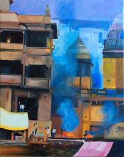 Varanasi, India, oil on canvas, Original Art Work