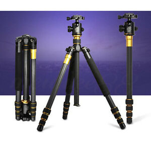 QZSD Q-999C Carbon Fiber Tripod Monopod Stand With Ball Head For Digital Camera