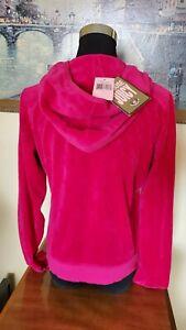 Juicy Couture Original 'Free Love' Reddish Pink Velour Hoodie Jacket - XL