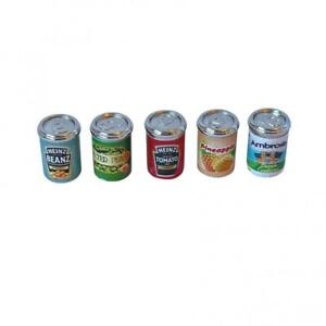 Dolls House 5 Food Cans Mixed Grocery Tins Miniature Shop Kitchen Accessory 1:12