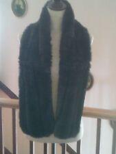 Women's Scarve, Black Faux Fur Scarf, Lined, Vintage Look