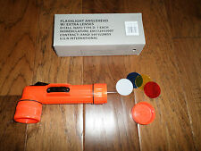 U.S MILITARY STYLE ANGLE HEAD FLASHLIGHT W/EXTRA LENSES 2D CELL SAFETY ORANGE