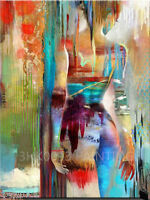 ZWPT48 charming 100% hand-painted abstract girl oil painting decor art on Canvas