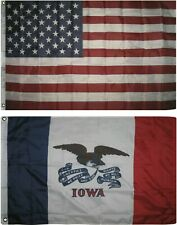 Wholesale Combo Lot of 3x5 USA Flag & State of  Iowa 3x5 2 Flags Banner