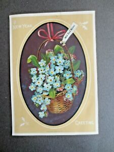 Victorian NEW YEAR Greetings Card Marcus Ward Basket of  Forget me Nots Flowers