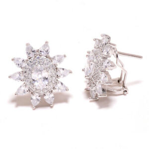 "White Topaz 925 Sterling Silver Jewelry Earring 0.90"" S192"