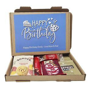 Personalised Birthday Tea Treat Box Hamper Biscuits Hug in a box Take a break