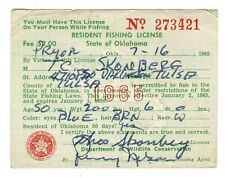 Vintage Oklahoma Sport Fishing License 1965