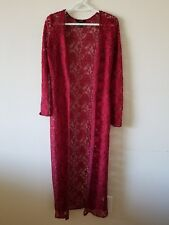 Forever21 BLOOD RED LACE DUSTER CARDIGAN maxi GOTHIC festival GYPSY BOHO
